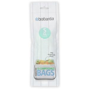 Brabantia (S) Müllbeutel, 6 Liter, Umweltfreundlicher Abfallbeutel aus PE Kunststoff, 1 Rolle à 10 Stück