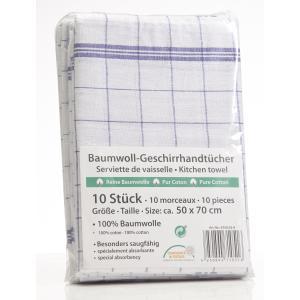 Geschirrtuch, 50 x 70 cm, Aus 100% Baumwolle, 1 Packung = 10 Stück, blau/weiß