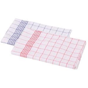Floorstar Geschirr-Handtücher Halbleinen, Maße: 50 x 70 cm, ideal für Geschirr- und Gläser, 1 Beutel = 10 Stück, rot-weiß kariert