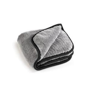 MEGA Clean Professional MEGA Flausch Mikrofasertuch, Ideal für die Autopflege, 40 x 40 cm, 600 g/qm, 1 Stück, Farbe: grau / schwarz