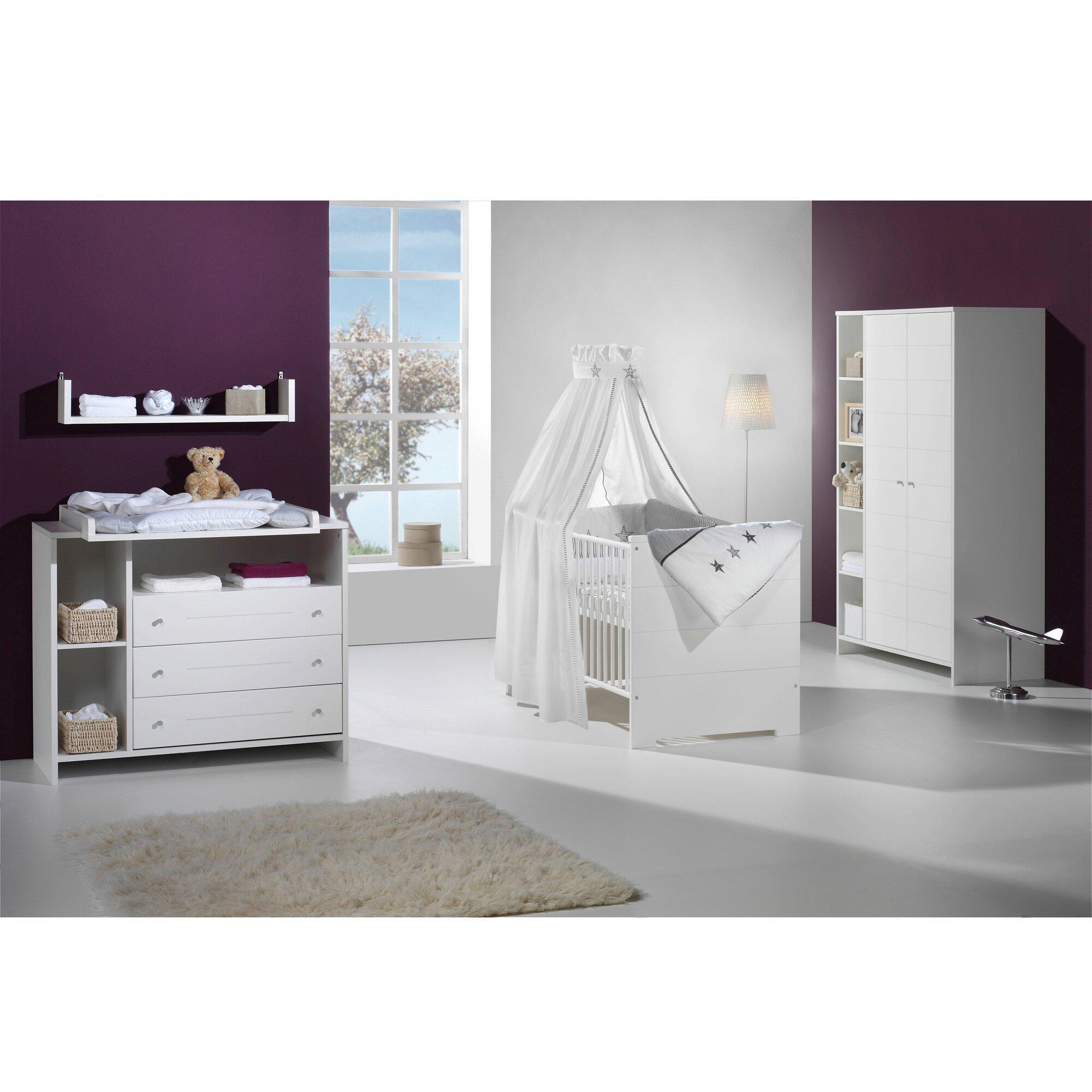 3-tlg. Babyzimmer Eco Stripe mit 2-türigem Kleiderschrank
