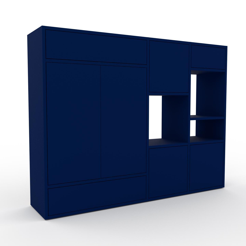Holzregal Nachtblau - Modernes Regal aus Holz: Schubladen in Nachtblau & Türen in Nachtblau - 154 x 118 x 35 cm,...
