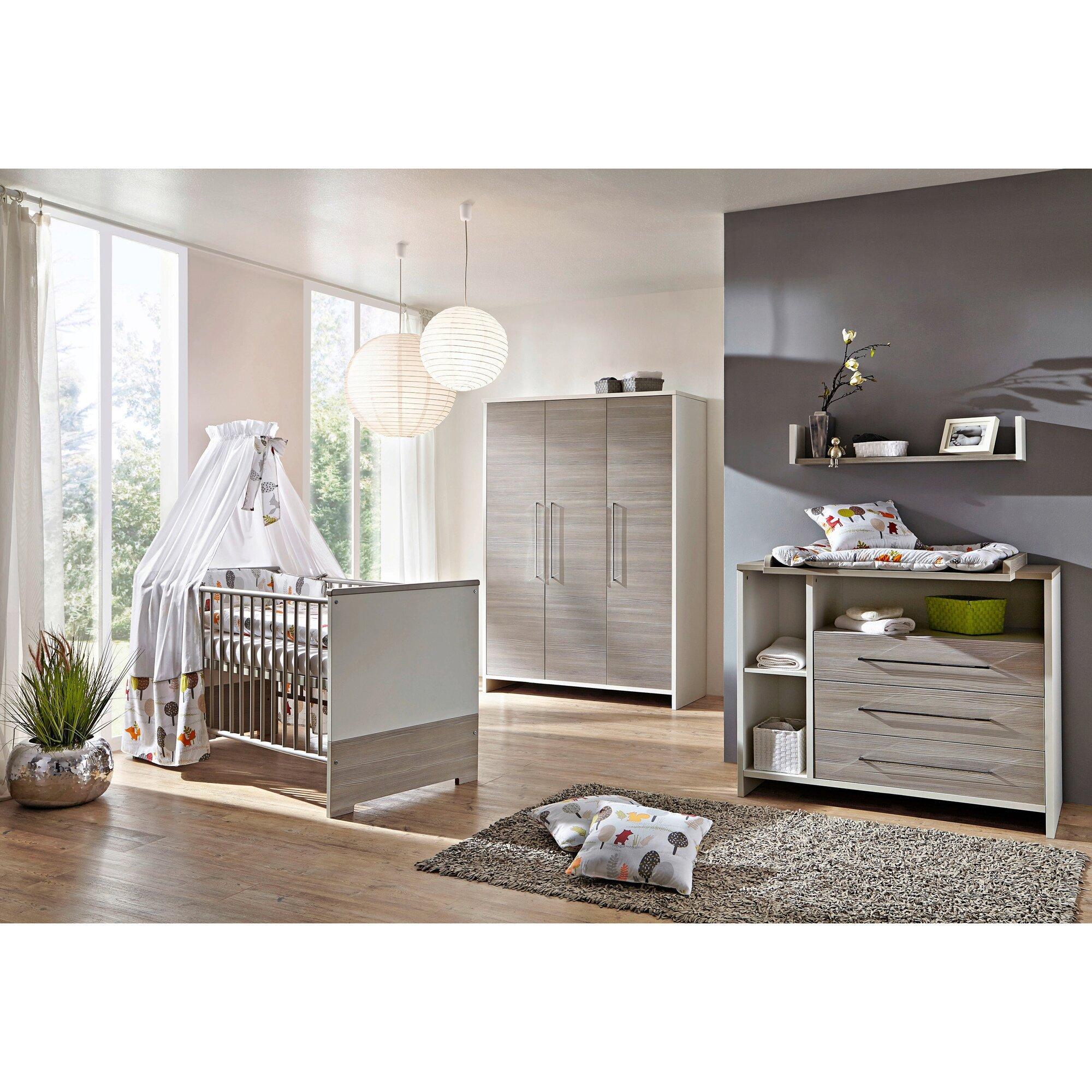 3-tlg. Babyzimmer Eco Silber mit 3-türigem Kleiderschrank