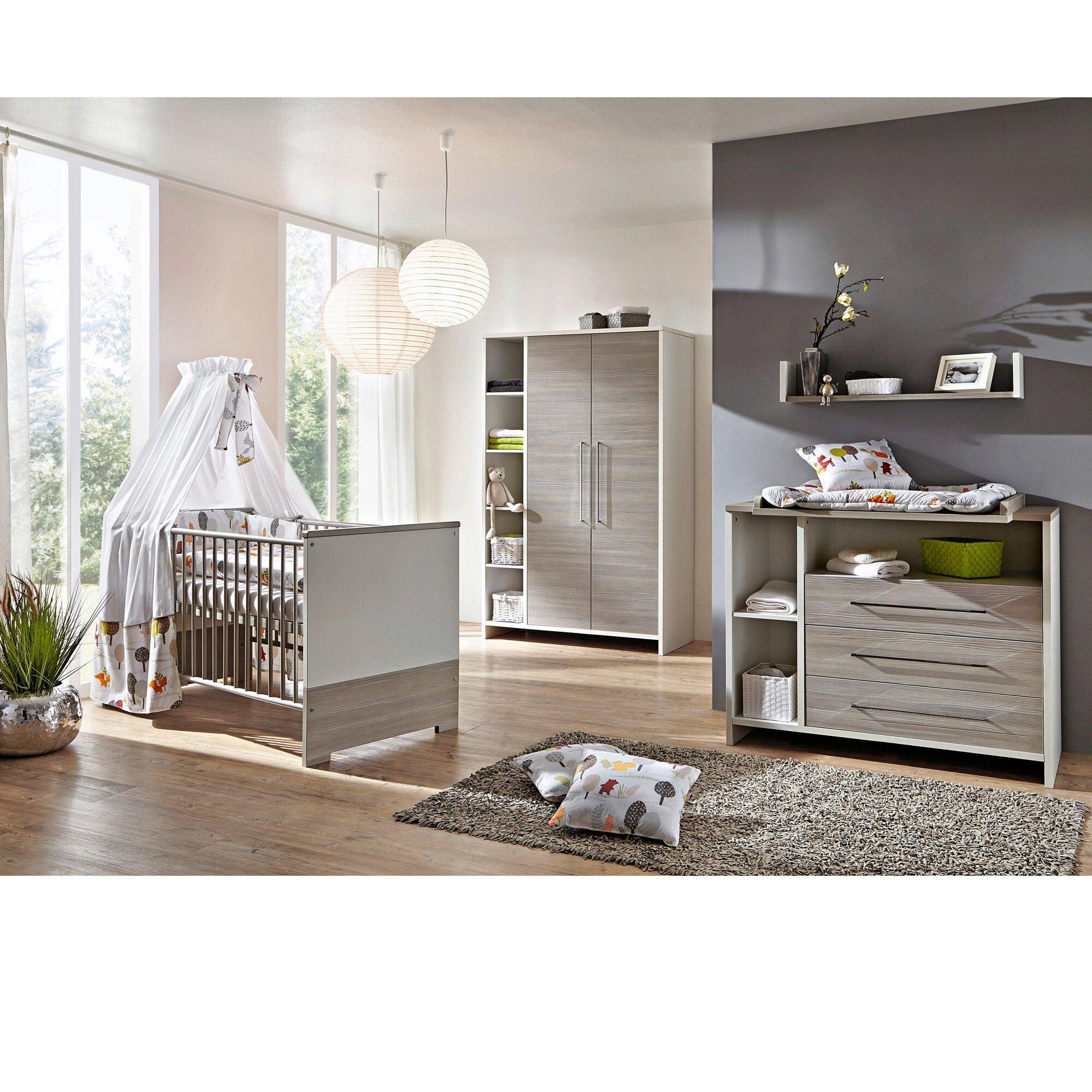 3-tlg. Babyzimmer Eco Silber mit 2-türigem Kleiderschrank