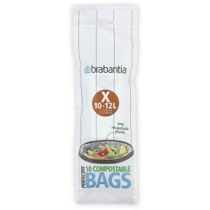 Brabantia (X) Müllbeutel, 10-12 Liter, Umweltfreundlicher Abfallbeutel aus Stärke, 1 Rolle à 10 Stück