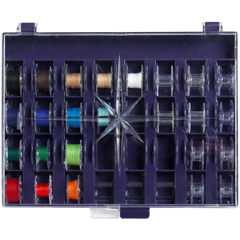 Prym Spulenbox, Größe: 16 x 12 cm, für 32 Unterfadenspulen