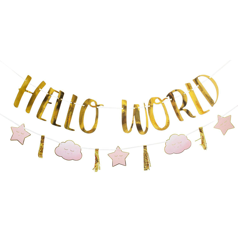 "Girlanden-Set ""Hello World"", 1,70 m, rosa"