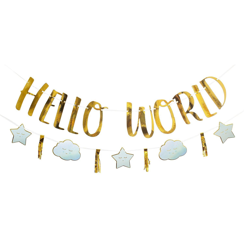 """Girlanden-Set """"Hello World"""", 1,70 m, blau"""