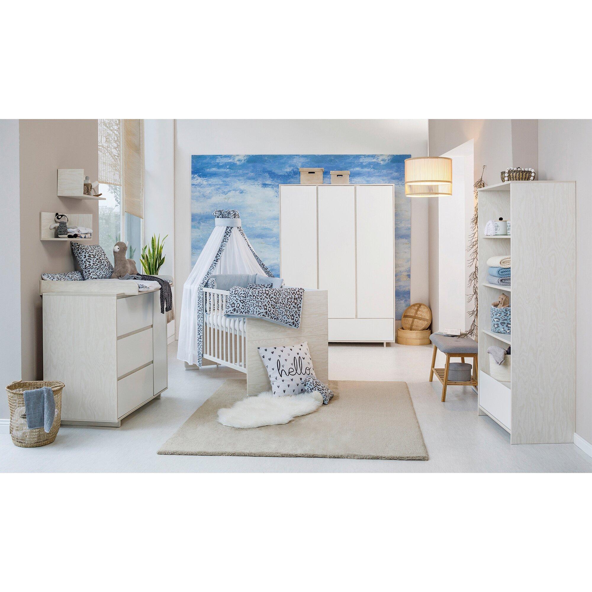 3-tlg. Babyzimmer Capri White mit 3-türigem Kleiderschrank