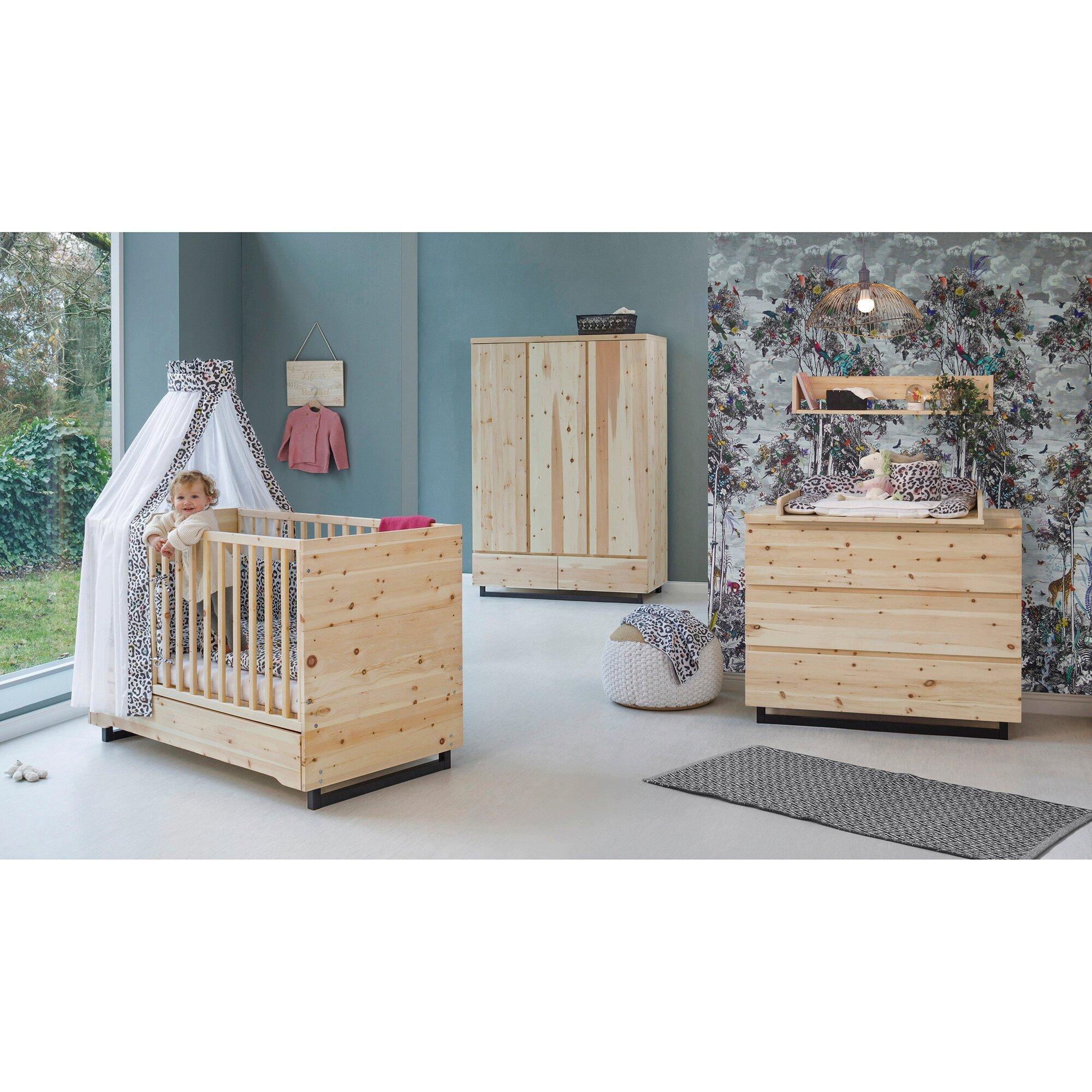 3-tlg. Babyzimmer Zirbenholz mit 3-türigem Kleiderschrank
