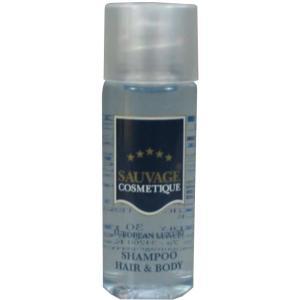 Sauvage Hotelkosmetik aus der Flasche, Hair & Body Shampoo, 1 Karton = 300 x 30 ml - Flaschen