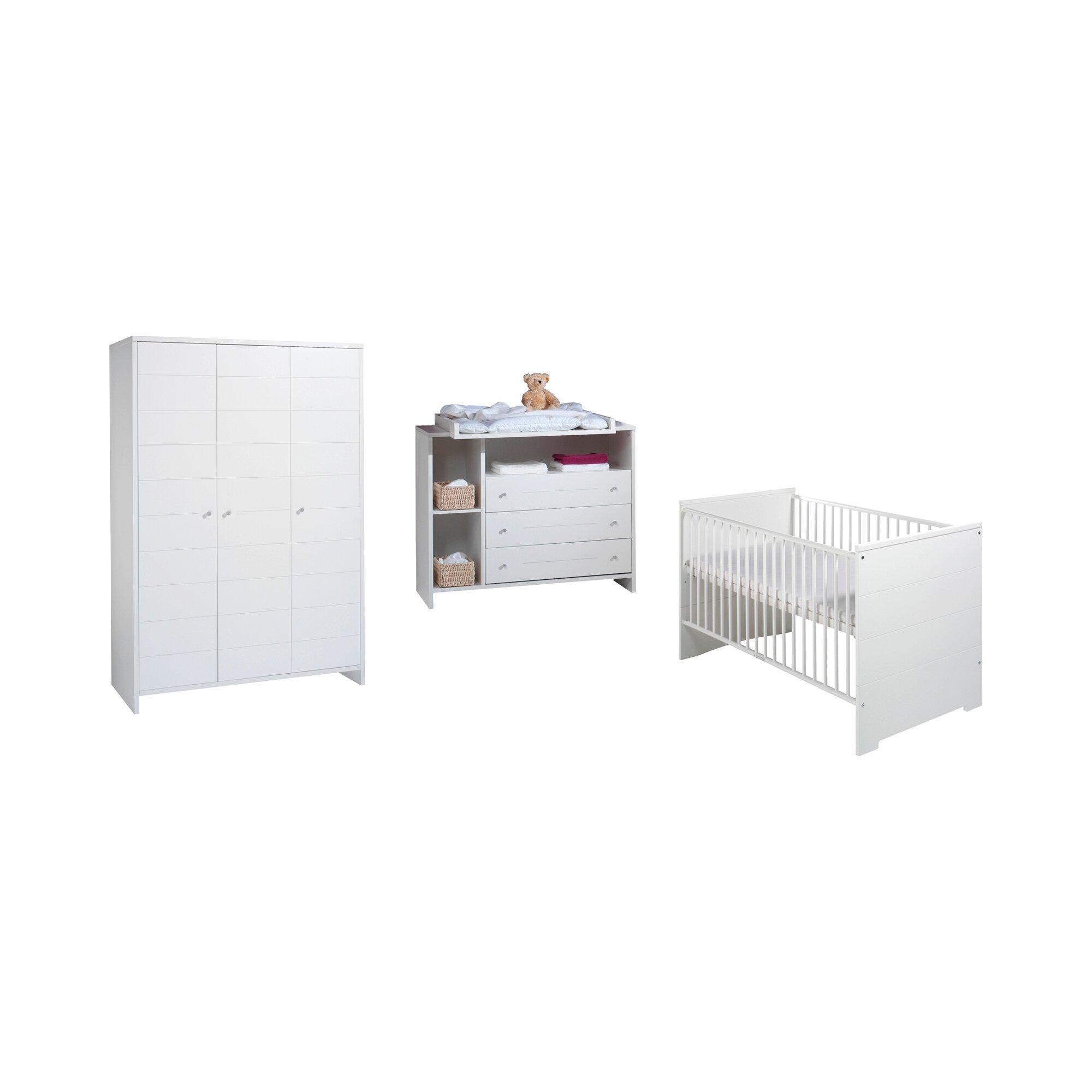 3-tlg. Babyzimmer Eco Stripe mit 3-türigem Kleiderschrank