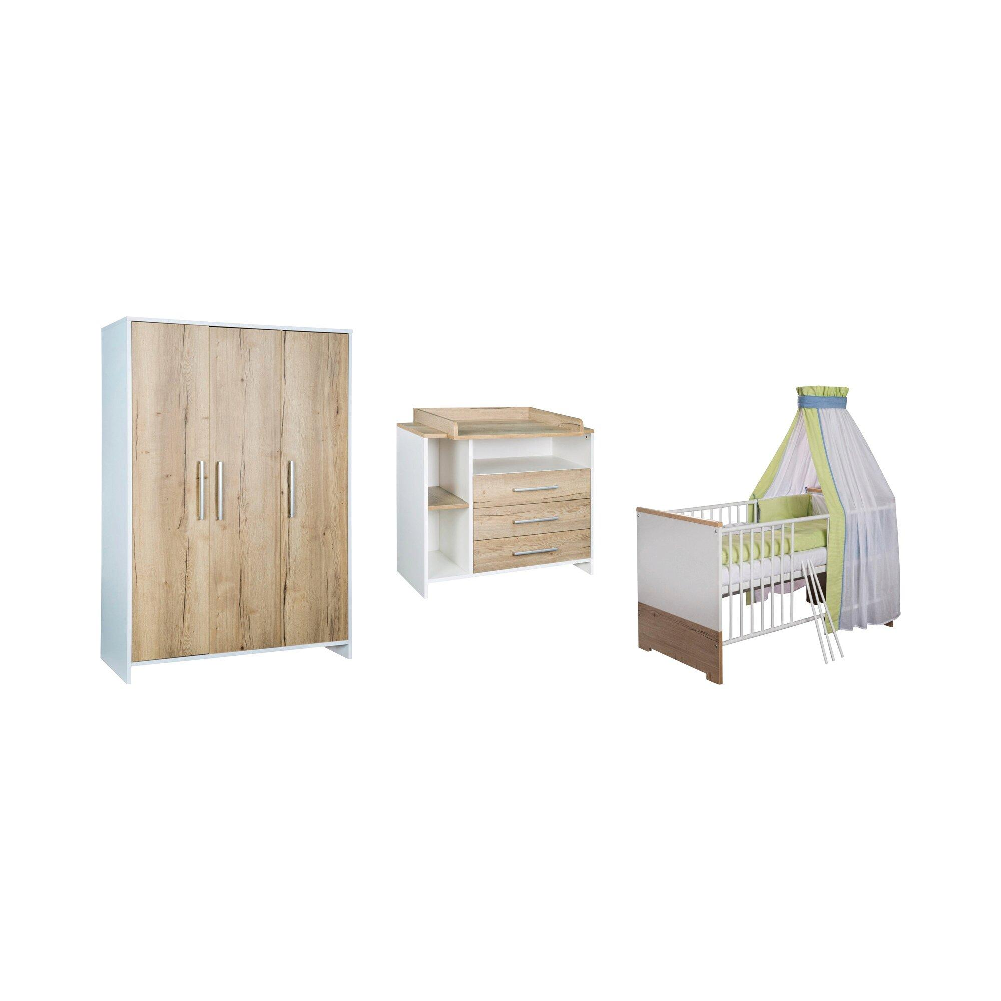 3-tlg. Babyzimmer Eco Plus mit 3-türigem Kleiderschrank