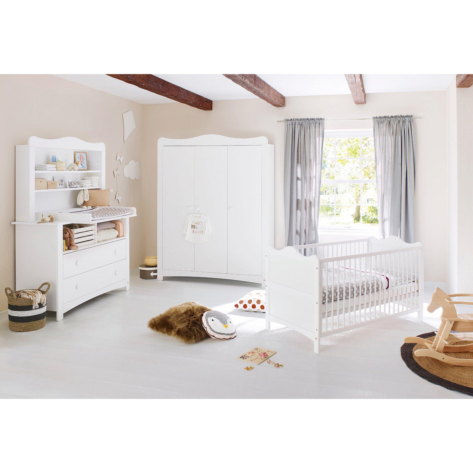 3-tlg. Babyzimmer Florentina extrabreit groß, inkl. extrabreitem Regalaufsatz