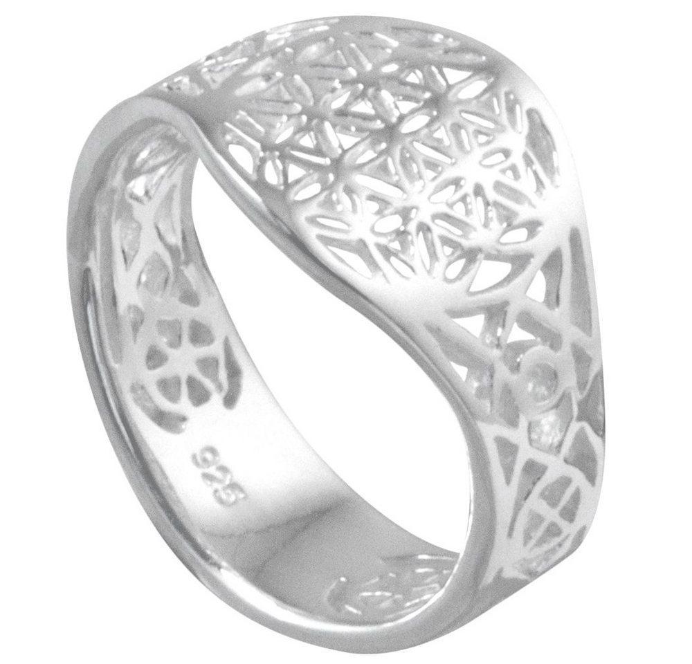 Vinani Silberring, Vinani Ring Lebensblume Blume des Lebens Mandala glänzend offen Sterling Silber 925 Blume RLB
