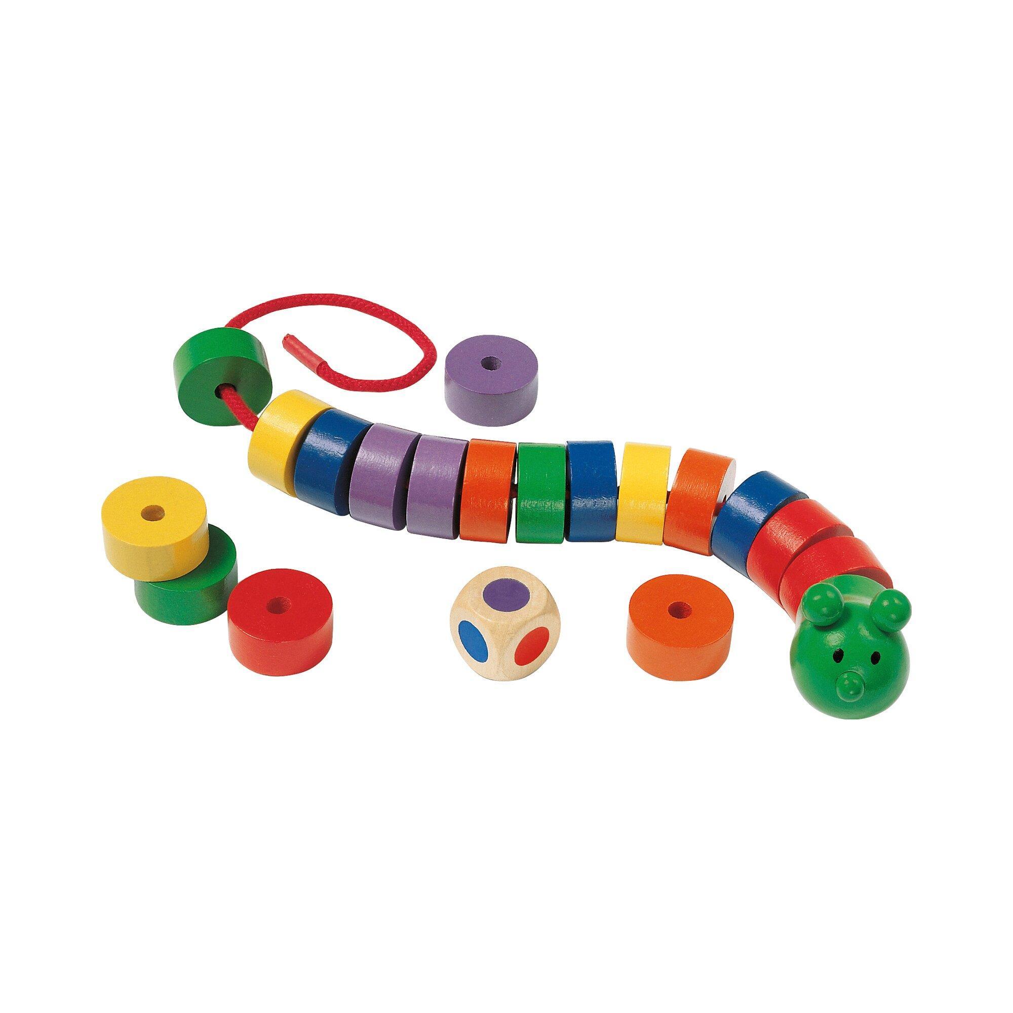 Farben-Lernspiel Fädelraupe