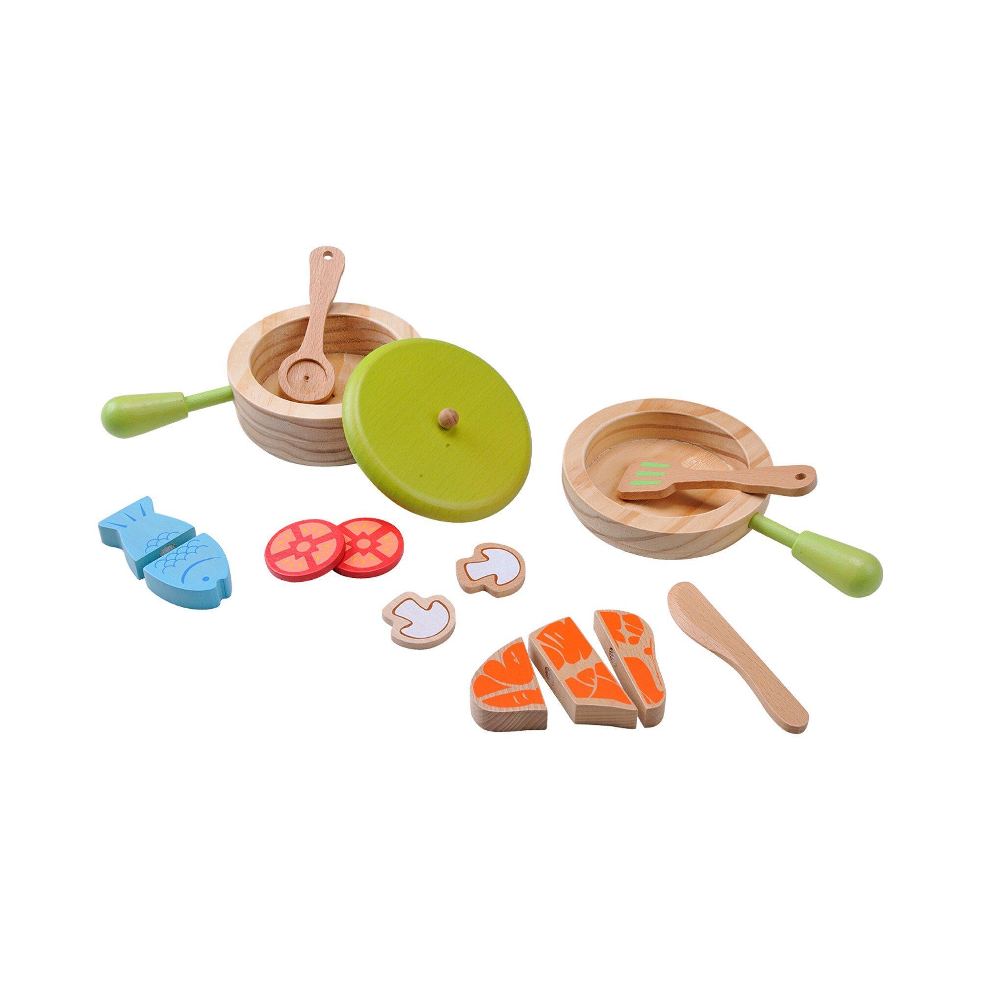 Topf- und Pfannen-Set aus Holz