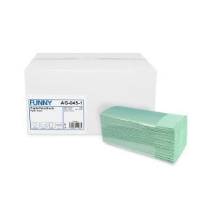 Papierhandtuch, 22,5 x 31 cm, 1-lagig, grün, Handtuchpapier mit C-Euro Falzung, 1 Karton = 4000 Stück