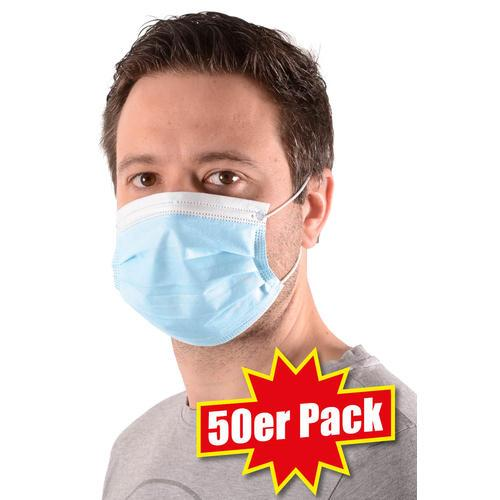 50er Pack Einweg-Mund-Nasen-Schutzmasken