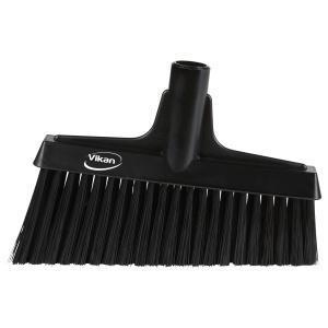 Vikan Besen mit Winkelschnitt, 260 mm, Besenkopf mit ergonomischem Fegewinkel, Farbe: schwarz