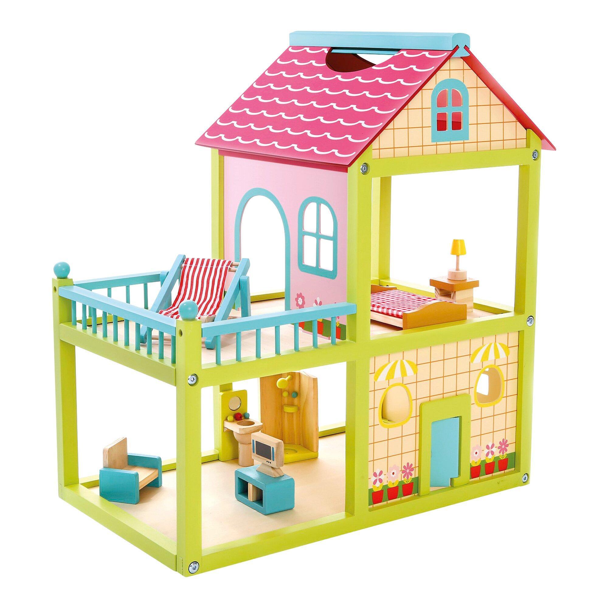 Puppenhaus 2 Etagen mit Einrichtung