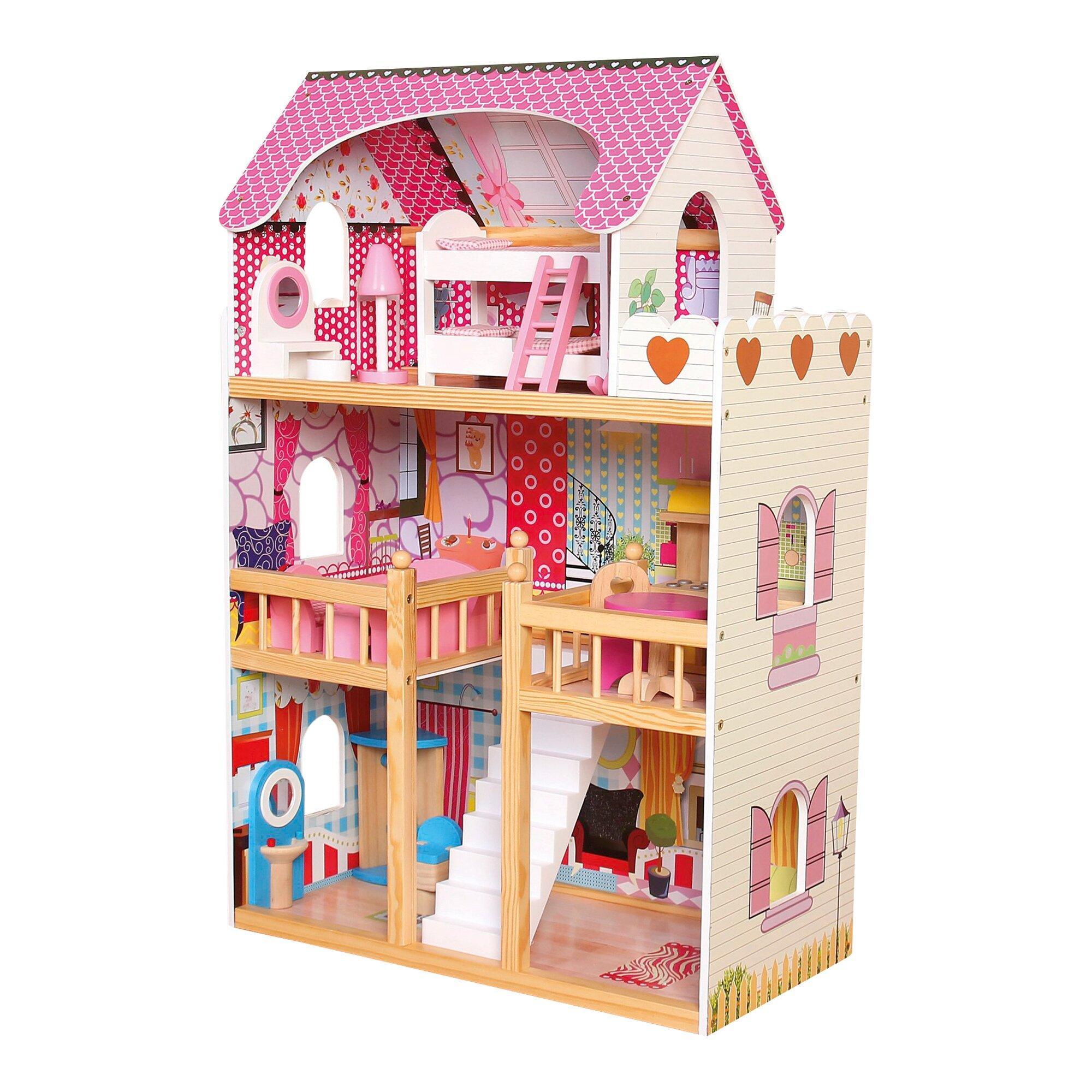 Puppenhaus 3 Etagen mit Einrichtung
