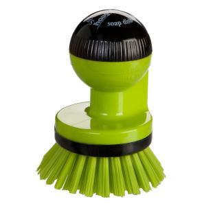 Haug spüli-rondo Knopfbürste, mit Spülmittelspender, Besatz: Nylon 6,6, Farbe: grün