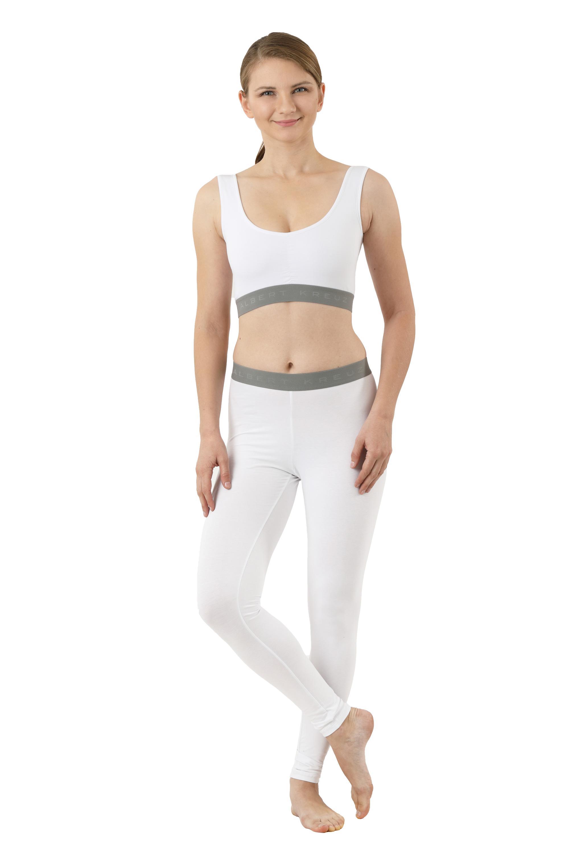 Leggings lange Unterhose Bio-Strechbaumwolle weiß - 40-42 / L