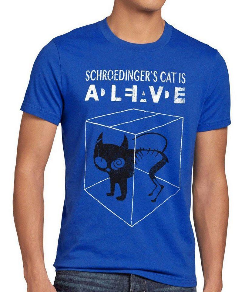 style3 Print-Shirt Herren T-Shirt Schroedinger's Katze Big Bang Sheldon schrödingers Theory cat neu, blau
