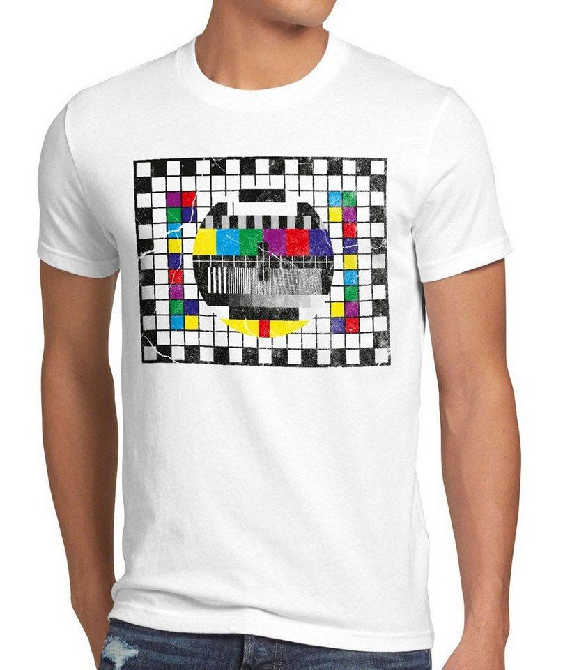 style3 Print-Shirt Herren T-Shirt Testbild big bang sheldon TV monitor retro fernseher LED theory, weiß