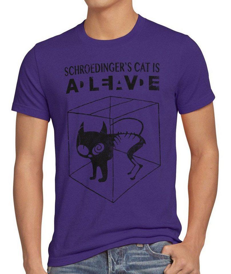style3 Print-Shirt Herren T-Shirt Schroedinger's Katze Big Bang Sheldon schrödingers Theory cat neu, lila