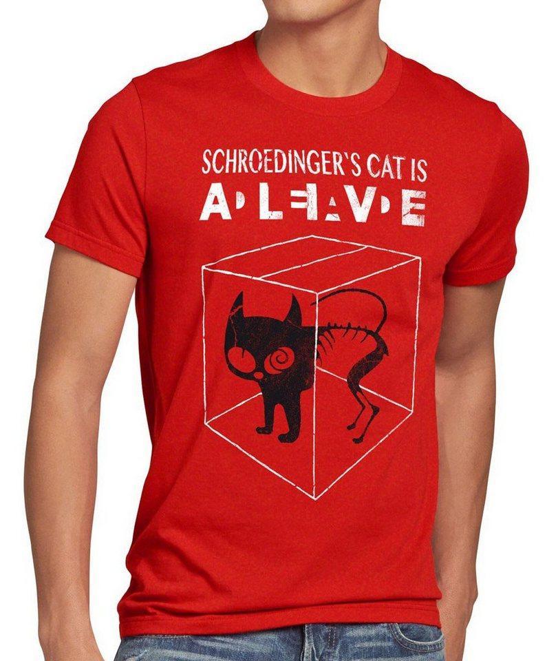 style3 Print-Shirt Herren T-Shirt Schroedinger's Katze Big Bang Sheldon schrödingers Theory cat neu, rot