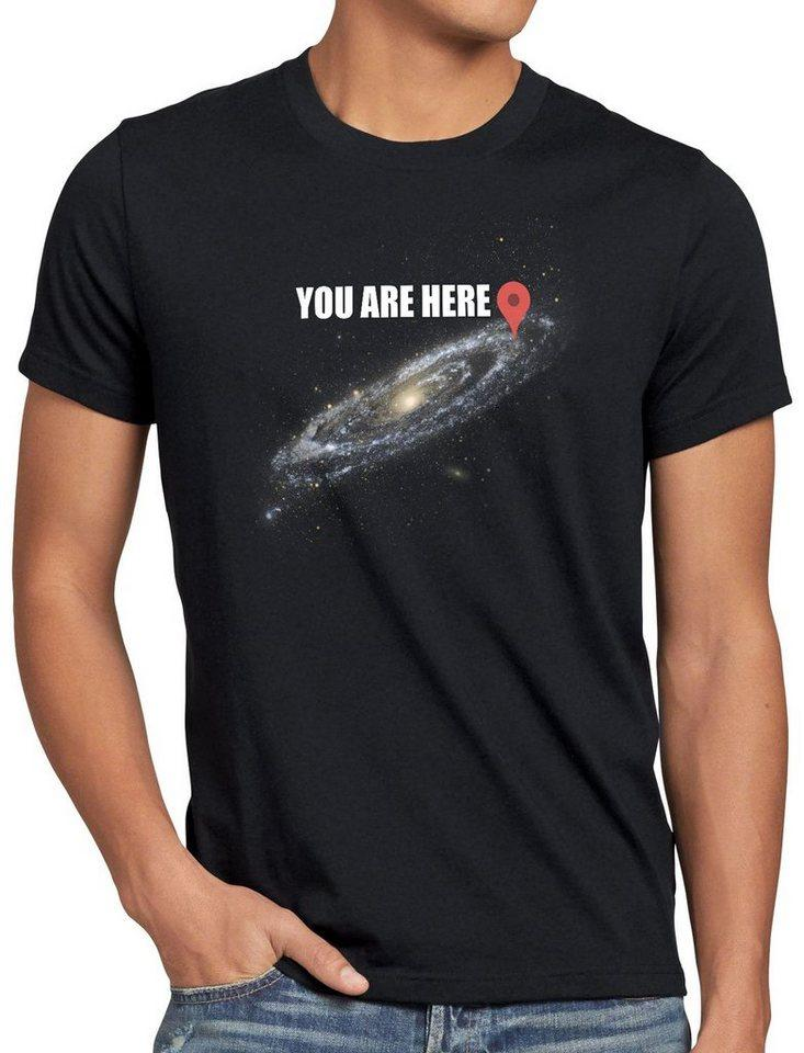 style3 Print-Shirt Herren T-Shirt Galaxy - you are here navigationssystem