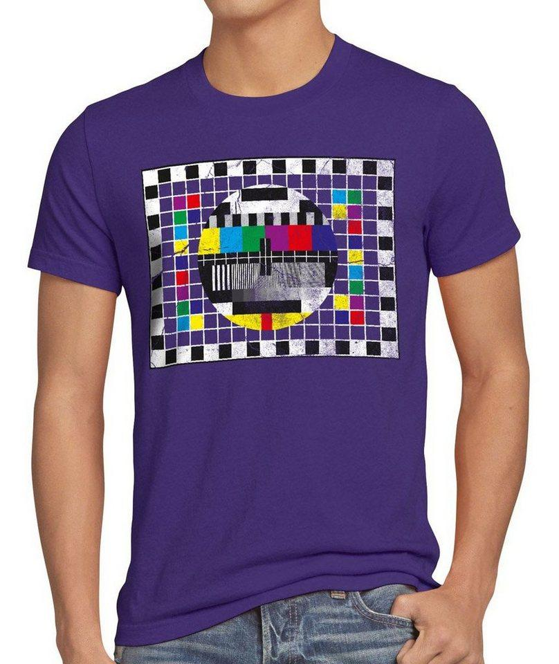 style3 Print-Shirt Herren T-Shirt Testbild big bang sheldon TV monitor retro fernseher LED theory, lila