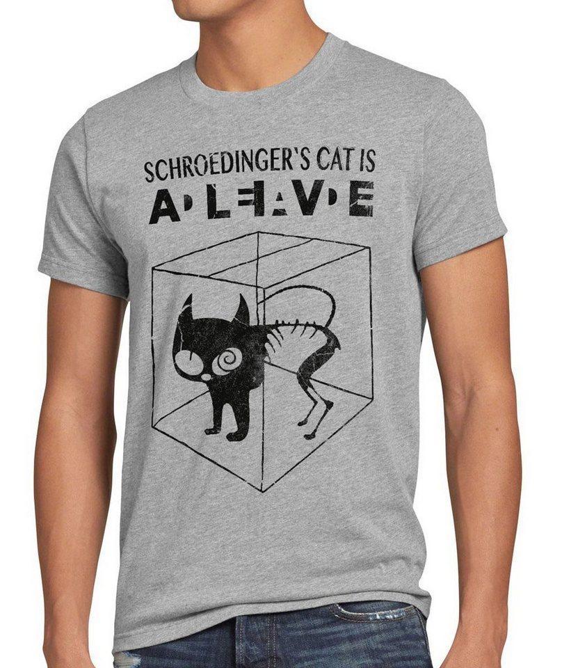 style3 Print-Shirt Herren T-Shirt Schroedinger's Katze Big Bang Sheldon schrödingers Theory cat neu, grau