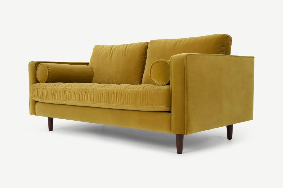 Scott grosses 2-Sitzer Sofa, Samt in Gold