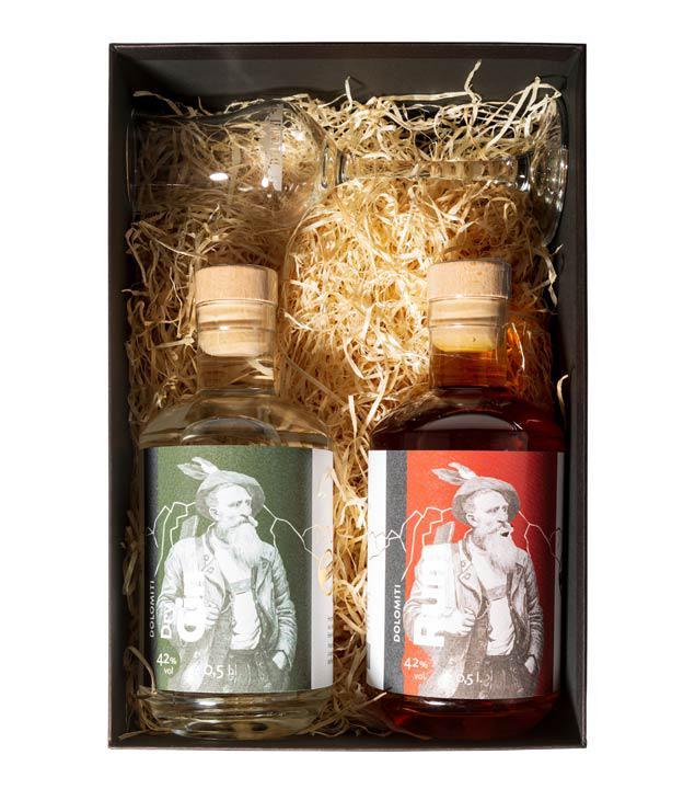 Dolomiti Geschenkset Gin & Rum + 1 Glas (42 % Vol., 1,0 Liter)