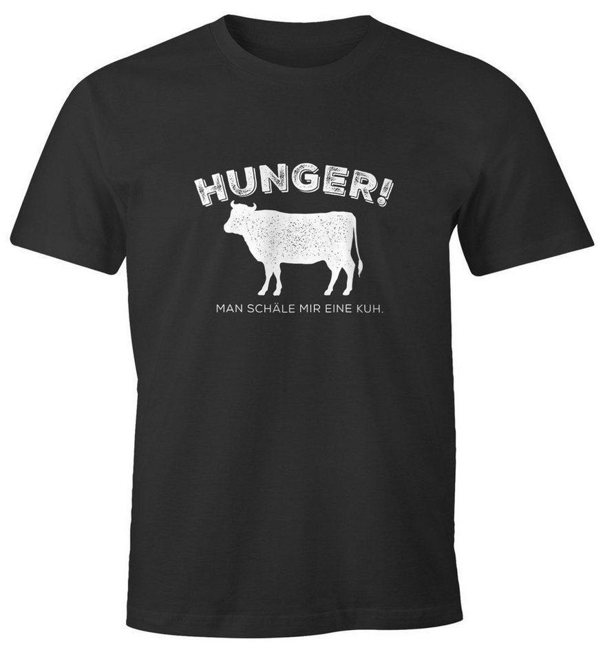 MoonWorks Print-Shirt »Herren T-Shirt Hunger! Man schäle mir eine Kuh. lustiges Spruch Fun-Shirt Moonworks®« mit Print
