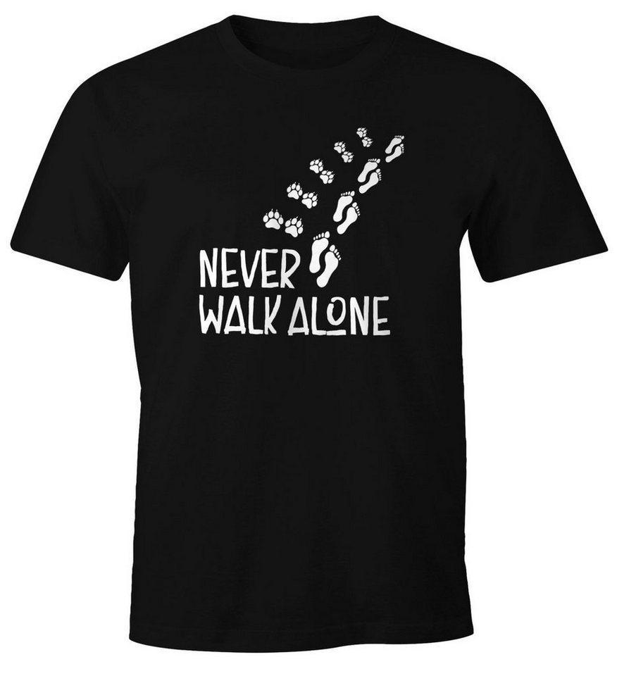 MoonWorks Print-Shirt »Herren T-Shirt Never walk alone Hund Pfoten Hundepfoten Pfotenabdrücke Hundebesitzer Fun-Shirt Moonworks®« mit Print