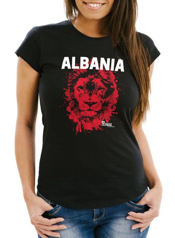 MoonWorks Print-Shirt »Damen T-Shirt Fanshirt Albanien Albania Fußball EM WM Löwe Shqipërisë MoonWorks®« mit Print