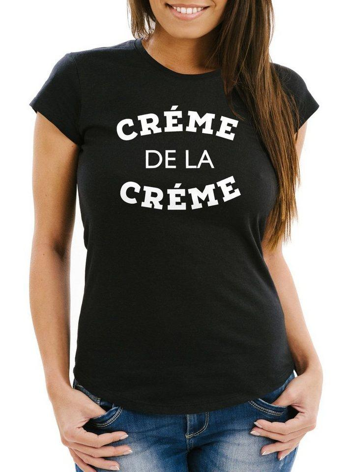 MoonWorks Print-Shirt »Damen T-Shirt Creme de la Creme Slim Fit Moonworks®« mit Print