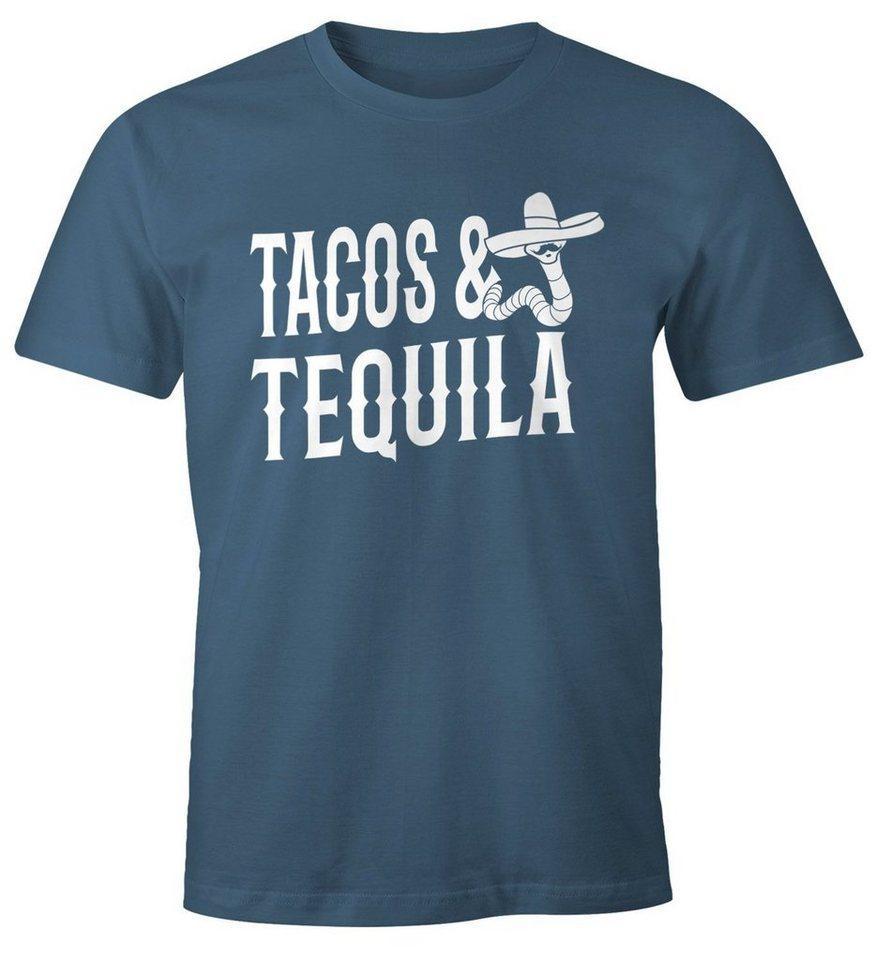 MoonWorks Print-Shirt »Herren T-Shirt Tacos & Tequila Wurm Sombrero Tequilla Mexikanisch Moonworks®« mit Print, blau