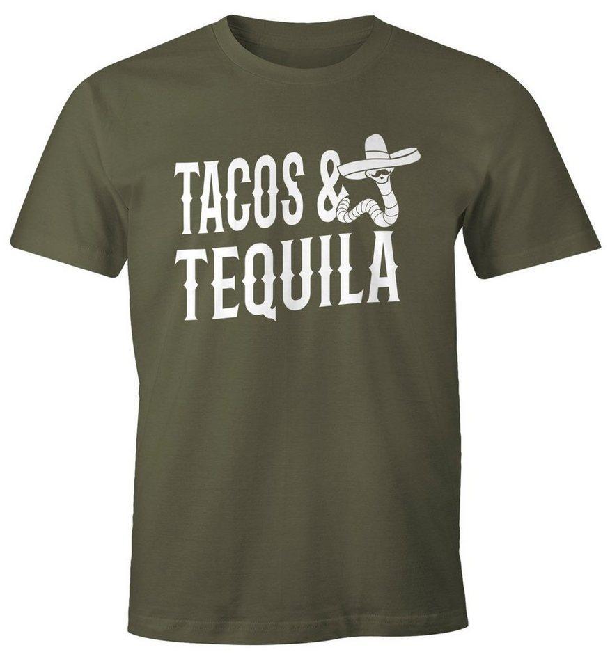 MoonWorks Print-Shirt »Herren T-Shirt Tacos & Tequila Wurm Sombrero Tequilla Mexikanisch Moonworks®« mit Print, grün