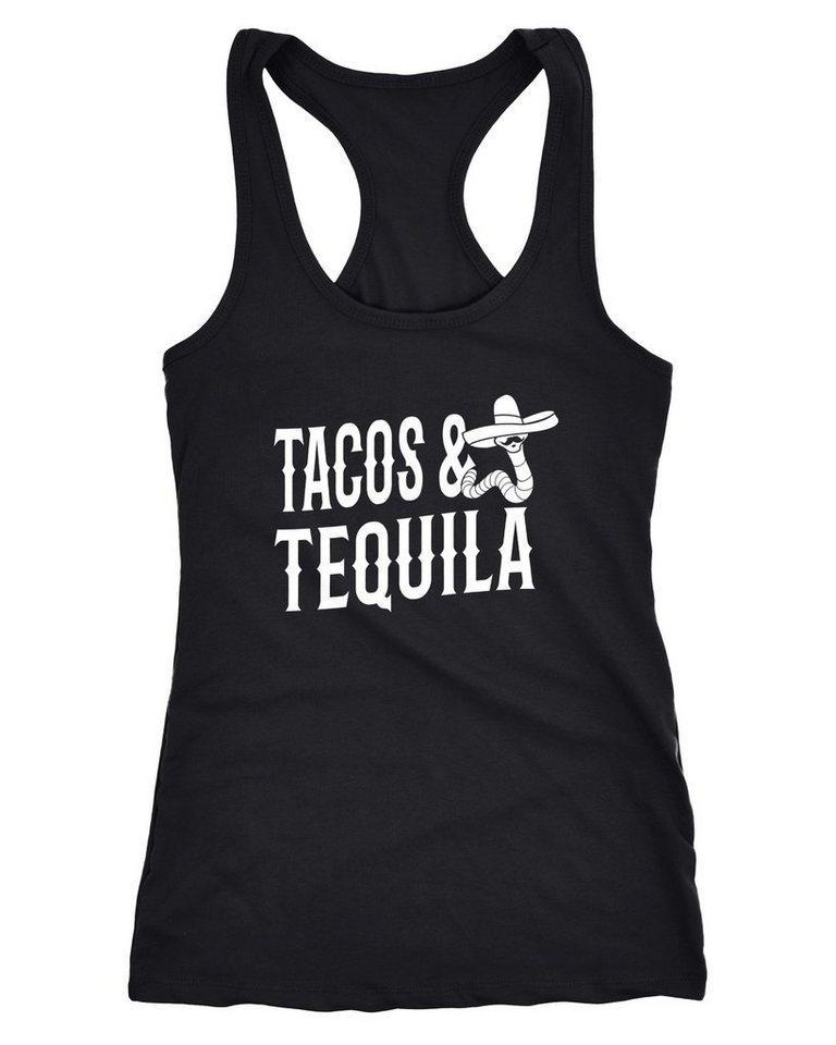 MoonWorks Tanktop »Damen Tanktop Tacos & Tequila Wurm Sombrero Tequilla Mexikanisch Racerback Moonworks®«