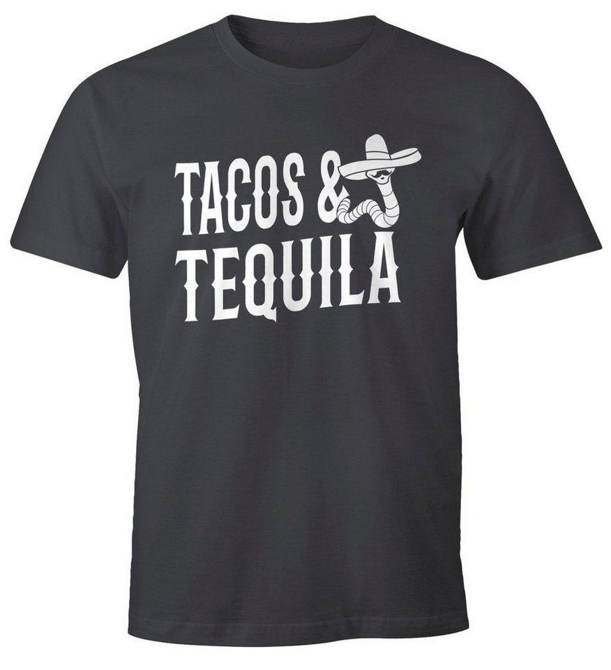 MoonWorks Print-Shirt »Herren T-Shirt Tacos & Tequila Wurm Sombrero Tequilla Mexikanisch Moonworks®« mit Print, grau
