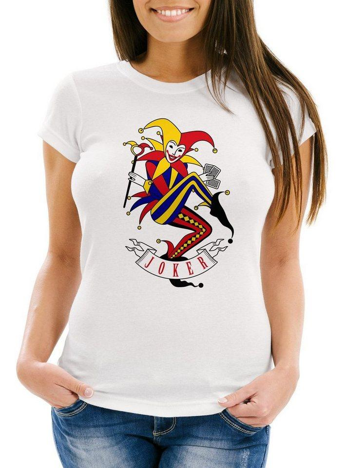 MoonWorks Print-Shirt »Damen T-Shirt Kartenspiel Kostüm Spielkarten Gruppenkostüm Karten Fasching Karneval Faschingsshirt Moonworks®« mit Print, weiß