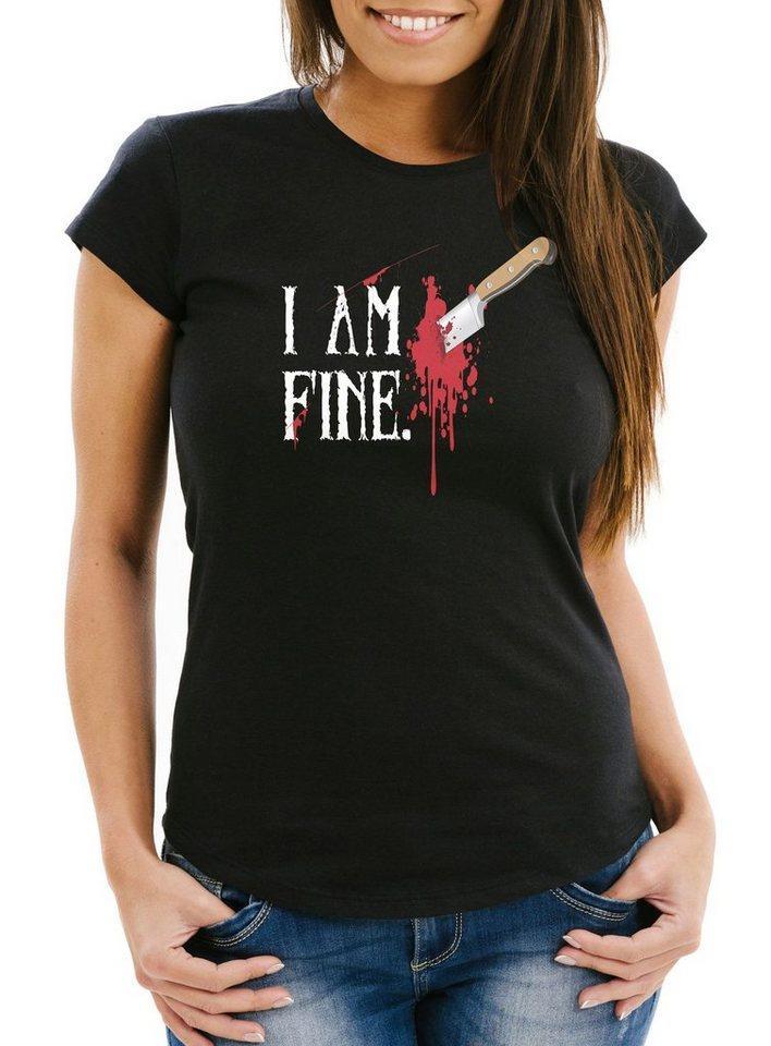 MoonWorks Print-Shirt »Damen T-Shirt Halloween Wunde Messer I Am Fine Horror Fun-Shirt Stichwunde Moonworks®« mit Print