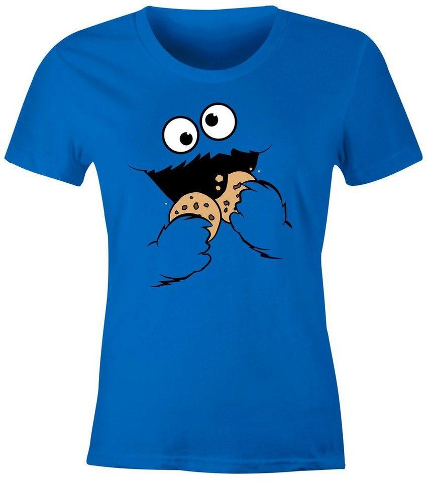 MoonWorks Print-Shirt »Damen T-Shirt Krümelmonster Keks Cookie Monster Fasching Karneval Kostüm Slim Fit Moonworks®« mit Print