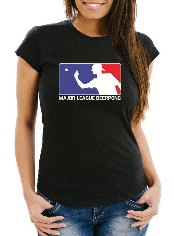 MoonWorks Print-Shirt »Damen T-Shirt Major League Beerpong lustiges Trink Shirt Saufen Bier Party Moonworks®« mit Print