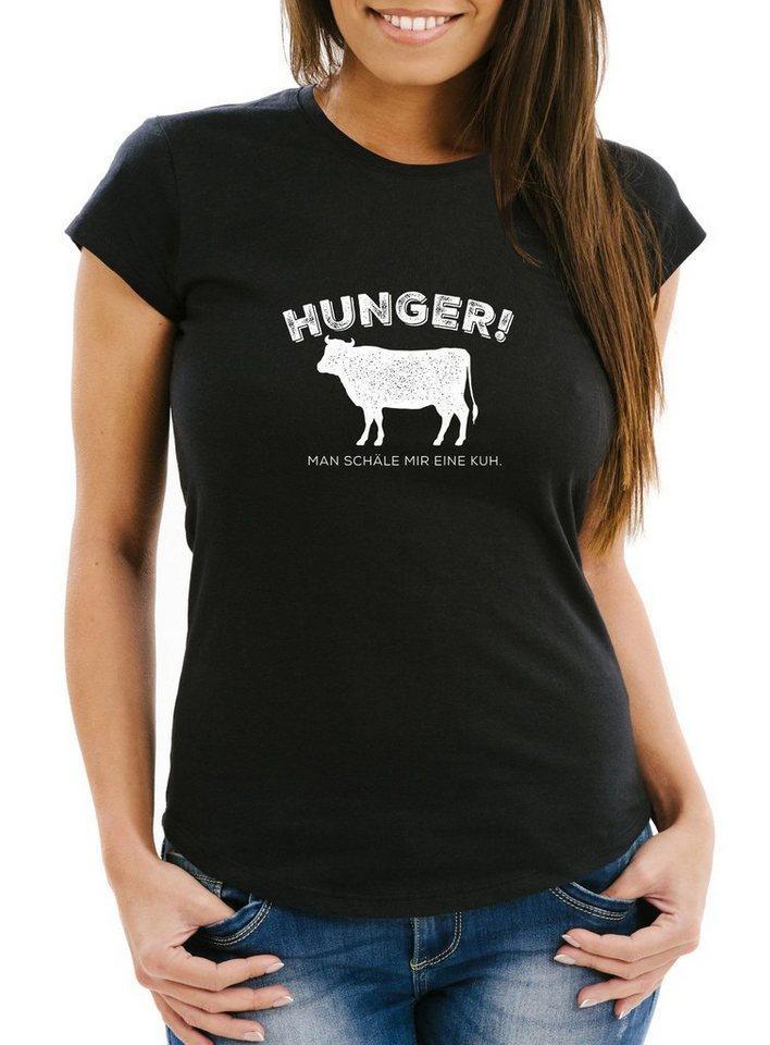 MoonWorks Print-Shirt »Damen T-Shirt Hunger! Man schäle mir eine Kuh lustiges Spruch Fun-Shirt Moonworks®« mit Print